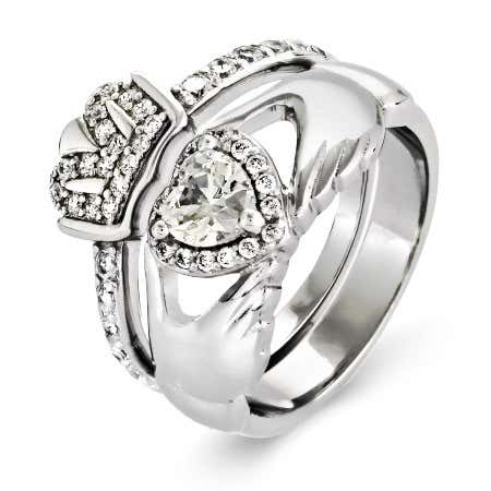 Sterling Silver CZ Claddagh Engagement Ring Set | Eve's Addiction®