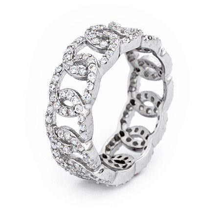 Infinity Linked CZ Sterling Silver Ring   Eve's Addiction®