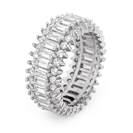 Baguette & Brillant Cut CZ Sterling Silver Eternity Band | Eve's Addiction®