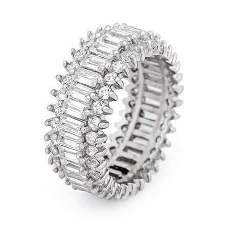Baguette and Brillant Cut CZ Eternity Band