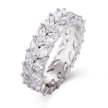Sterling Silver Marquise Cut CZ Eternity Band | Eve's Addiction®