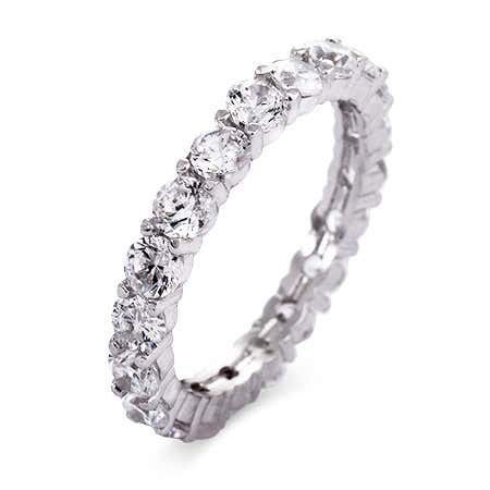 display slide 1 of 1 - Brilliant Cut CZ Stackable Eternity Band - selected slide