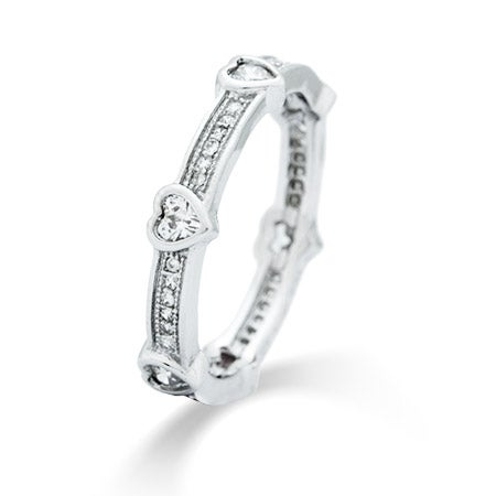 CZ Heart Sterling Silver Promise Band | Eve's Addiction®