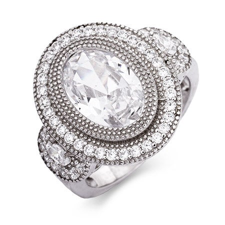 Sterling Silver Vintage Design Oval CZ Ring   Eve's Addiction®