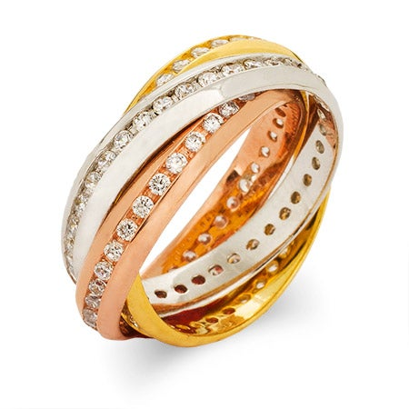 Channel Set CZ Rolling Trio Ring | Eve's Addiction®