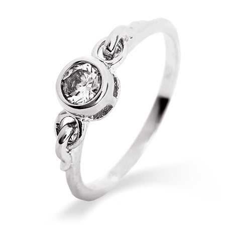 Ornate Petite Bezel Set CZ Promise Ring | Eve's Addiction®