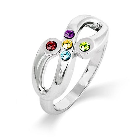 Adam and Eve 5 Stone Infinity Family Birthstone Ring | Eve's Addiction®