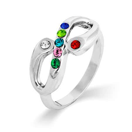 Adam and Eve 7 Stone Infinity Family Birthstone Ring