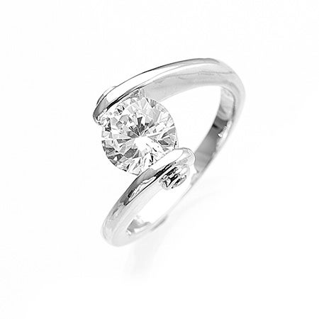CZ engagement ring with sterling silver setting from Eves Addiction's best cz rings