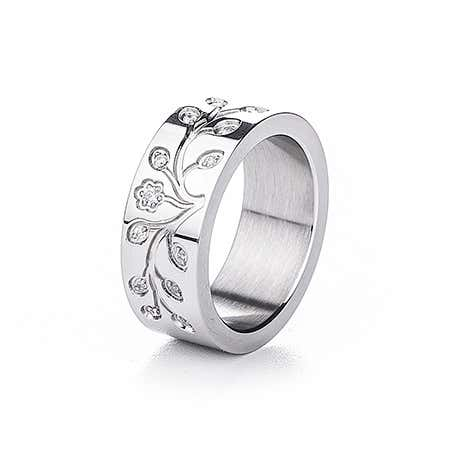 Engravable Tree of Life CZ Stainless Steel Ring
