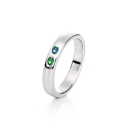 Sterling Silver 2 Stone Birthstone Ring | Eve's Addiction®
