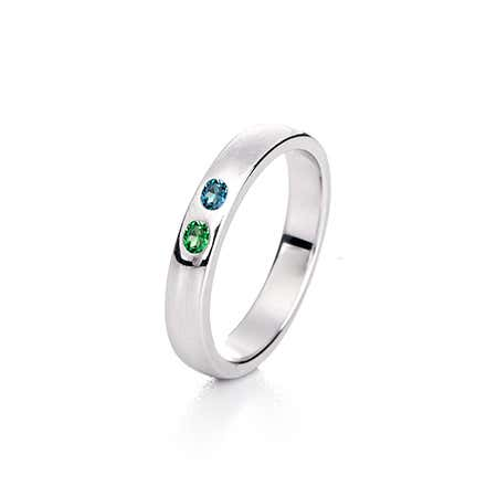 display slide 1 of 3 - Sterling Silver 2 Stone Birthstone Ring | Eve's Addiction® - selected slide