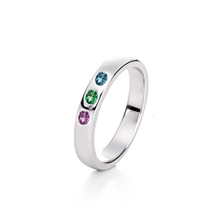 Sterling Silver 3 Stone Birthstone Family Ring | Eve's Addiction®