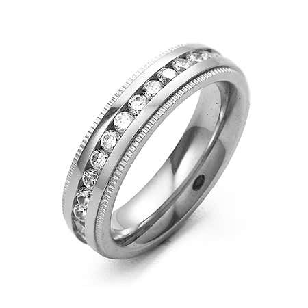 Women's CZ Engravable Eternity Band with Milgrain Edge