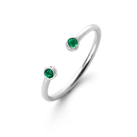 Dainty Open Center 2 Birthstone Silver Ring