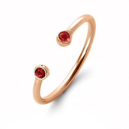 Rose Gold Dual Birthstone Ring | Eve's Addiction®