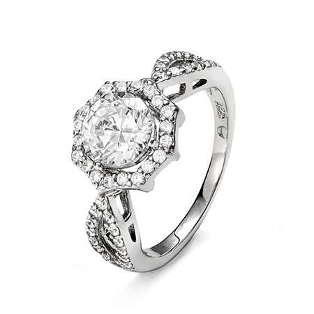 Elegant 7mm Brilliant Cut Halo CZ Engagement Ring