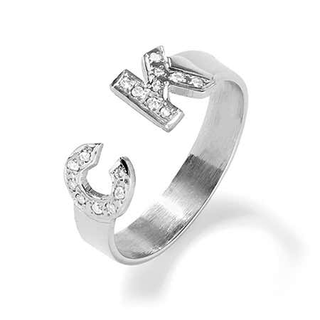 Sterling Silver 2 Initial Diamond Cuff Ring