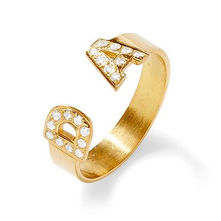 Diamond Gold Custom ID Ring | Custom Initial Ring | Eve's Addiction®