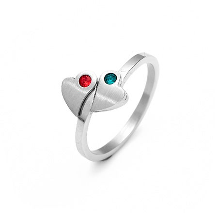 Two Hearts Custom Birthstone Promise Ring | Eve's Addiction®