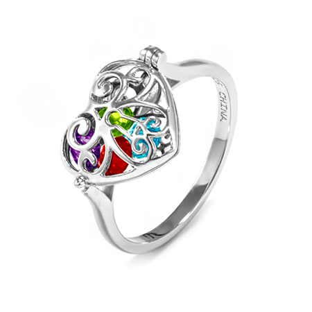 Key To My Heart Birthstone Locket Ring