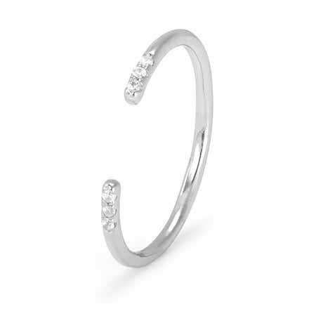 Petite Sterling Silver Open CZ Stackable Ring