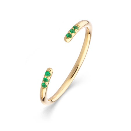 Shashi 2mm Wide Ava Ring in Yellow Gold Emerald | Eve's Addiction®