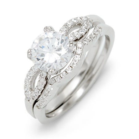 Brilliant Cut Round Promise Ring Set | Silver 2 Ring Set