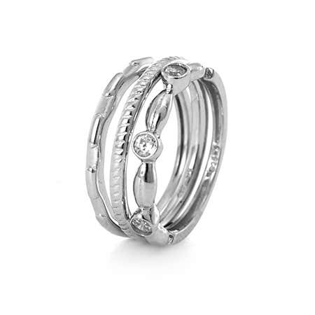 Bezel CZ Stackable Ring Trio | Eve's Addiction®