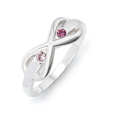2 Stone Sterling Silver Infinity Birthstone Ring