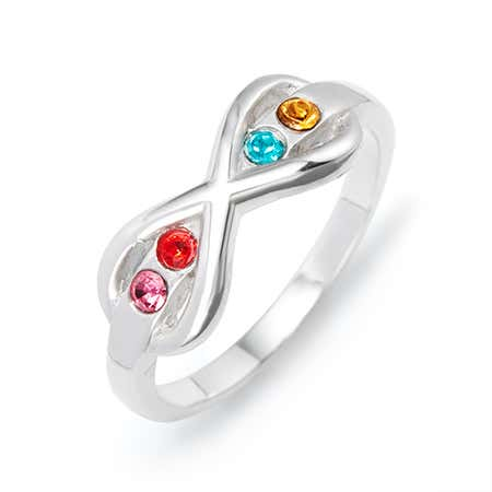 4 Stone Sterling Silver Infinity Birthstone Ring
