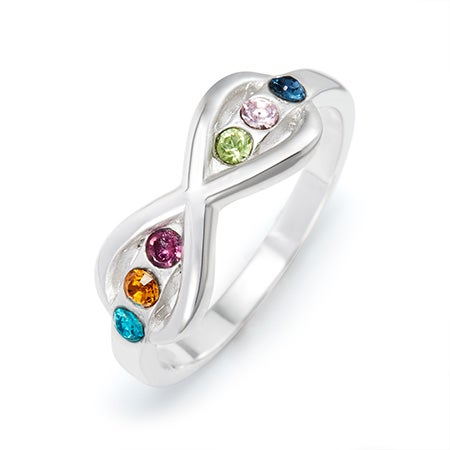 6 Stone Sterling Silver Birthstone Infinity Ring