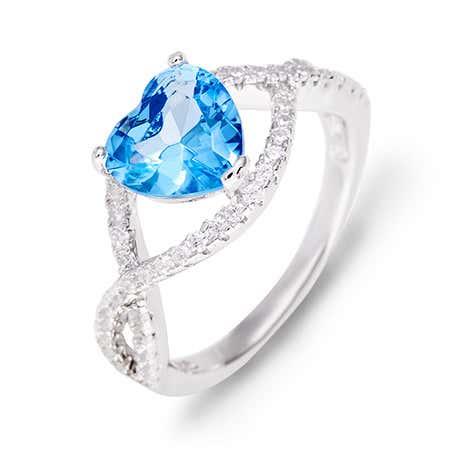 Custom Heart Birthstone CZ Infinity Ring