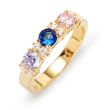 3 Stone Birthstone and CZ Gold Ring