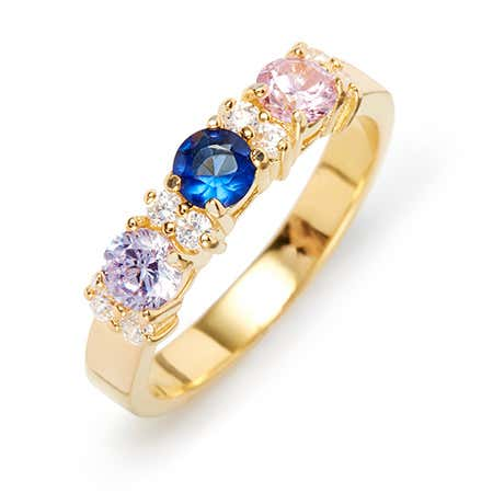 Custom Eternity 3 Stone Gold Ring With Birthstones