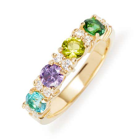 4 Birthstone Gold Eternity Band