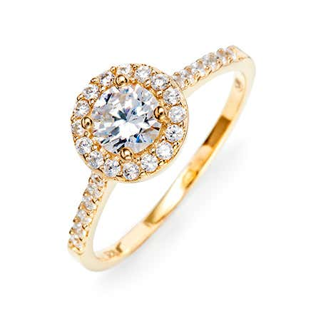 Gold plated cubic zirconia halo engagement ring from most popular cz engagement rings styles