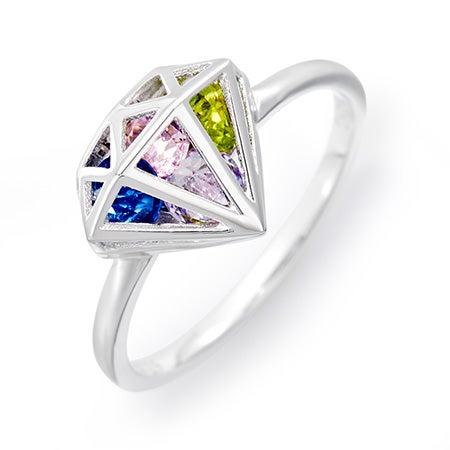 Diamond Custom Birthstone Locket Ring