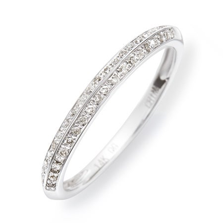 14K White Gold Double Row Diamond Promise Ring