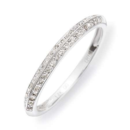 display slide 1 of 3 - 14K White Gold Double Row Diamond Ring - selected slide