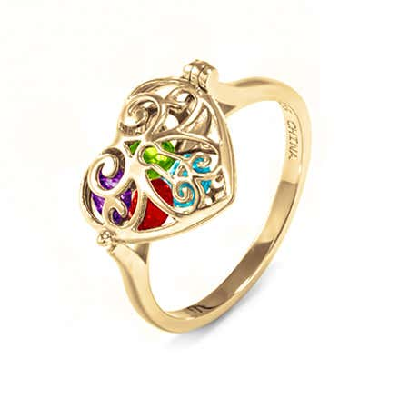 Key To My Heart Birthstone Gold Locket Ring