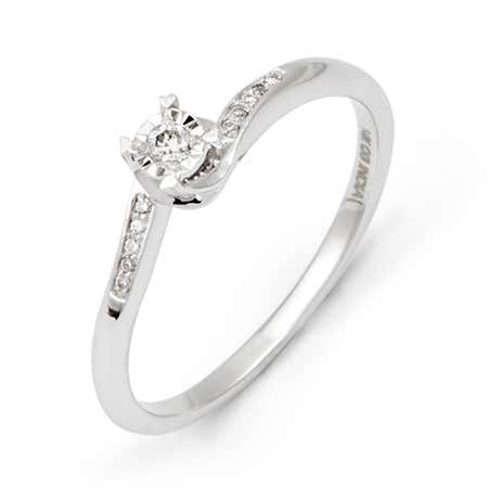Petite 14K White Gold Diamond Ring