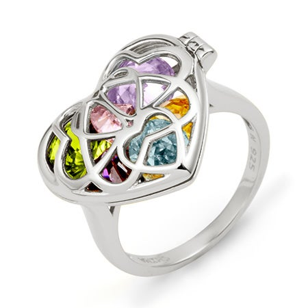 Heart Birthstone Silver Locket Ring | Eves Addiction