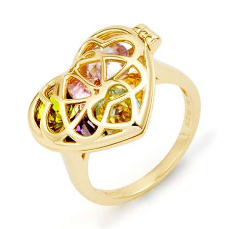 Custom Birthstone Gold Locket Ring | Eves Addiction