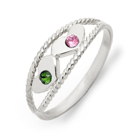 Double Heart Two Stone Birthstone Ring | Eves Addiction