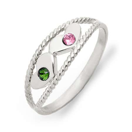 Two Birthstone Twisted Rope Silver Ring