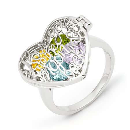 Custom Birthstone Silver Locket Ring | Eves Addiction