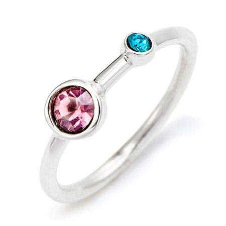 display slide 1 of 3 - Mother and Child Custom Birthstone Silver Ring - selected slide
