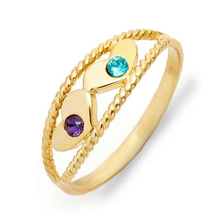 Two Birthstone Twisted Rope Gold Ring