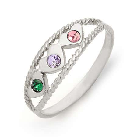 Three Birthstone Twisted Rope Silver Ring